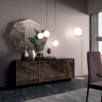 Buffet en bois laqué avec 2 ou 3 portes en céramique Made in Italy - Fiorenza