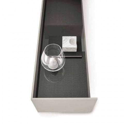 Buffet en MDF avec plateau en verre fumé et base en métal Made in Italy - Tonic