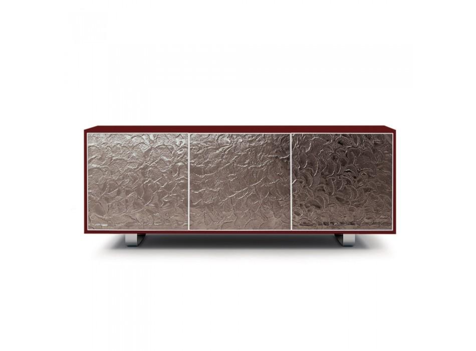 Buffet moderne en bois avec 2 ou 3 portes vitrées Made in Italy - Fiorenza