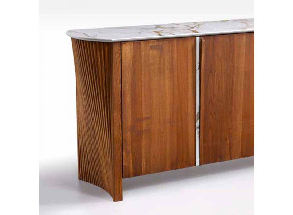 Buffet moderne en bois avec dessus et porte en marbre Gres Made in Italy - Wonka