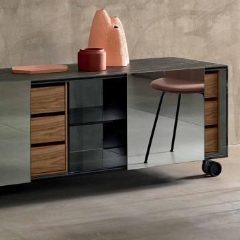 Buffet moderne sur roulettes en verre fumé et plateau en céramique Made in Italy - Sciocca
