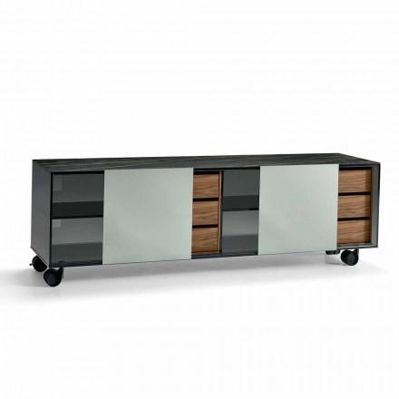 Buffet moderne sur roulettes en verre fumé et plateau en céramique Made in Italy - Scocca