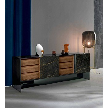 Buffet de salon 2 portes en céramique et structure en verre fumé Made in Italy - Sciocca