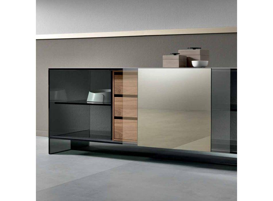 Buffet de salon en verre fumé avec porte miroir en bronze Made in Italy - Silly
