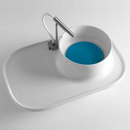 Étagère avec lavabo intégré en céramique blanc brillant Made in Italy - Uber