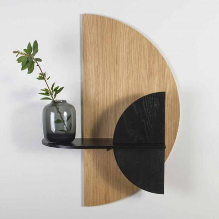 Étagère modulaire de design moderne en chêne et contreplaqué peint noir - Arabia