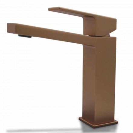Mélangeur de lavabo moderne en chrome ou design carré en laiton coloré - Zago