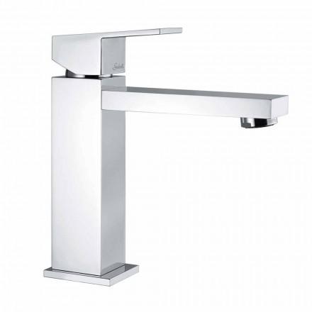 Mitigeur de lavabo en laiton chromé carré Made in Italy - Medida
