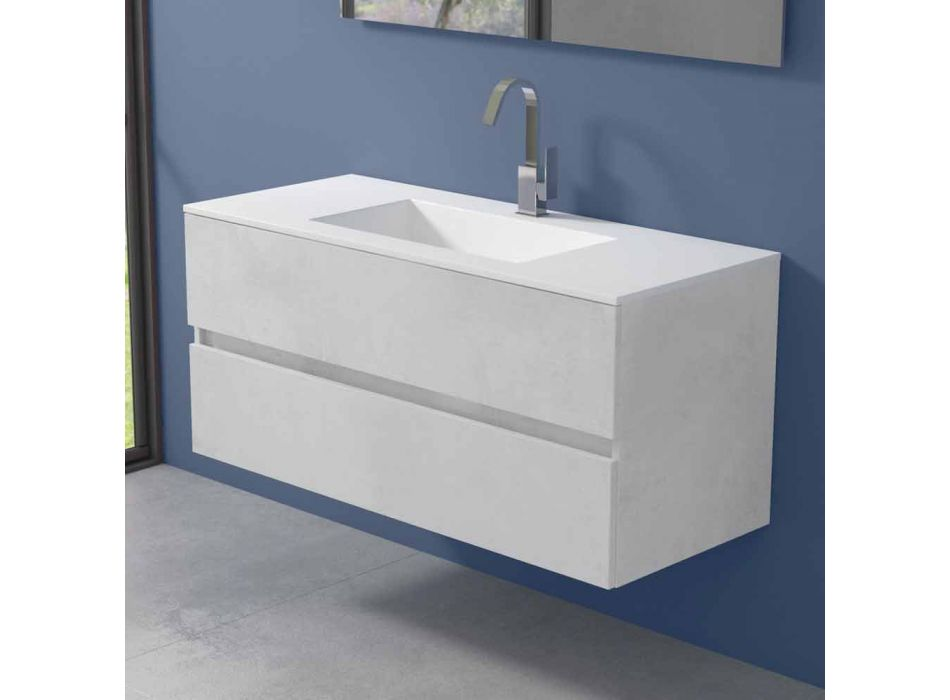 Armoire à suspension pour salle de bain avec lavabo intégré en 3 dimensions - Marione