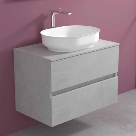 Meubles de salle de bain suspendus avec lavabo ovale, design moderne - Cesiro