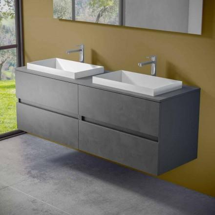 Meubles de salle de bain suspendus avec double lavabo encastré, design moderne - Dumbo