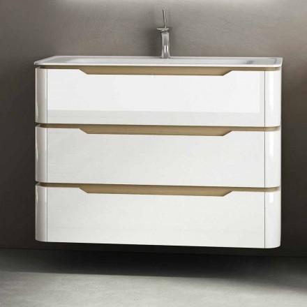 Meuble de salle de bain avec 3 tiroirs en bois Arya, fabriqué en Italie