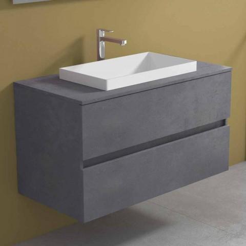 Meuble de salle de bain avec lavabo encastré, design suspendu moderne - Casimira