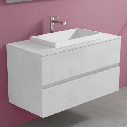 Armoire de salle de bain suspendue avec lavabo intégré, design moderne - Casimira