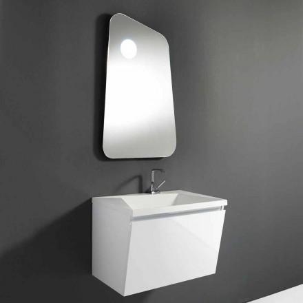 Meuble de salle de bain avec lavabo et miroir design en bois et marbre minéral - Fausta