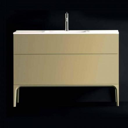 Meuble pour salle de bain avec lavabo en bois laqué 120x85x46cm Ambre, fabriqué en Italie