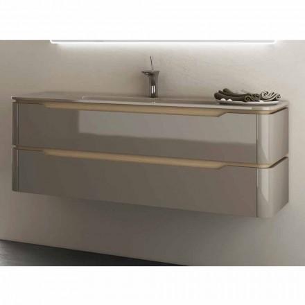 Meuble pour salle de bain avec vasque en bois design Arya, fabriquée en Italie