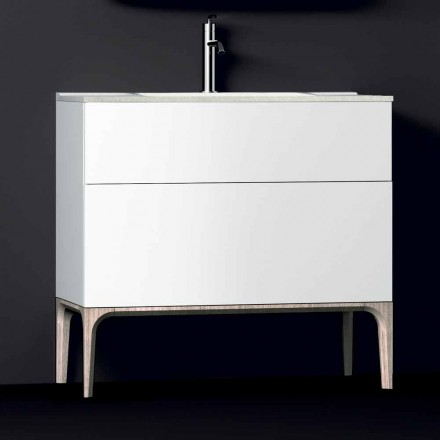 Meuble de salle de bain avec lavabo moderne intégré Ambre, résine et bois laqué