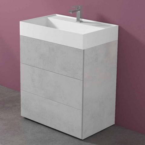 Armoire de salle de bain au design moderne en stratifié avec lavabo en résine - Pompei