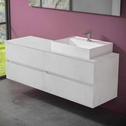 Meuble de salle de bain suspendu avec vasque à poser en résine design - Alchimeo