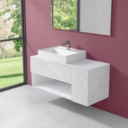 Meuble de salle de bain design suspendu avec lavabo à poser de style moderne - Pistillo