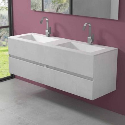 Armoire de salle de bain suspendue avec double vasque, design moderne en 4 finitions - Doublet