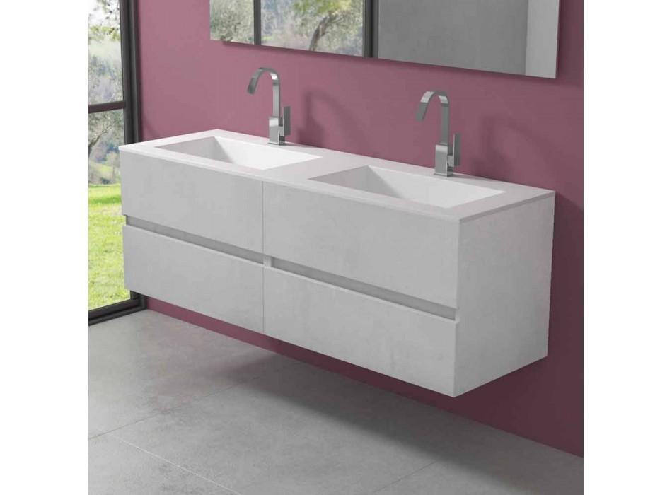 Meuble de salle de bain double vasque, design moderne suspendu en 4 finitions - Doublet