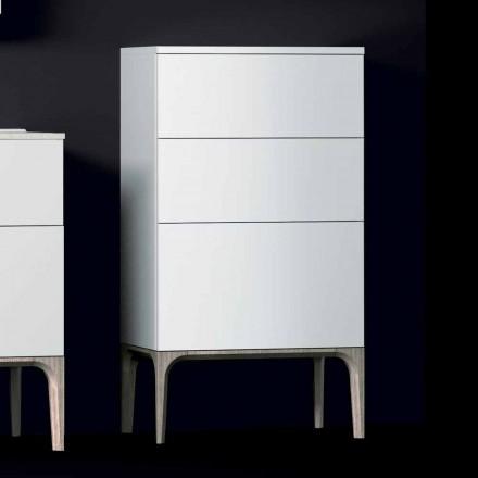 Meuble de salle de bain moderne avec 3 tiroirs en bois laqué Ambre, fabriqué en Italie