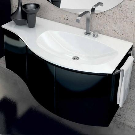 Meuble de salle de bain moderne avec lavabo trois portes en bois laqué noir Gioia
