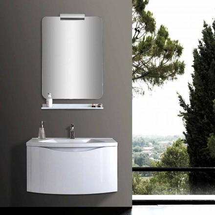 Meuble de salle de bain suspendu moderne blanc avec évier, étagère, miroir LED - Michele