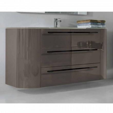 Meuble suspendu de salle de bain 3 tiroirs + 2 portes en bois Heureux, évier intégré