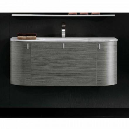 Meuble pour salle de bain suspendu avec 1cestone + 2ante lavabo en Happy oak