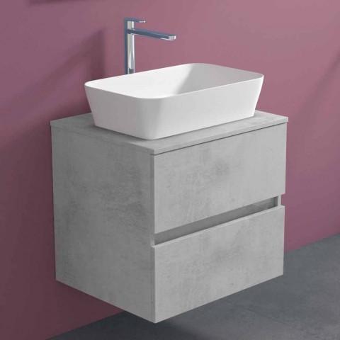 Armoire de salle de bain suspendue avec vasque à poser rectangulaire, design moderne - Dumbo