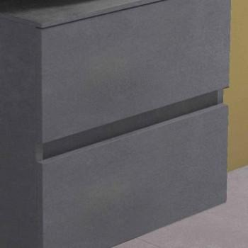 Armoire de salle de bain suspendue avec lavabo à poser rond, design moderne - Dumbo