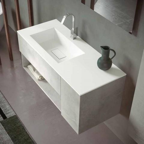 Armoire de salle de bain suspendue et lavabo intégré, design moderne en 4 finitions - Pistillo