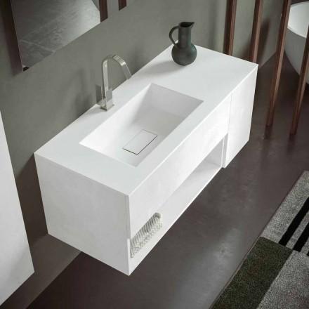 Armoire de salle de bain suspendue avec lavabo intégré, design moderne, 4 finitions - Pistillo