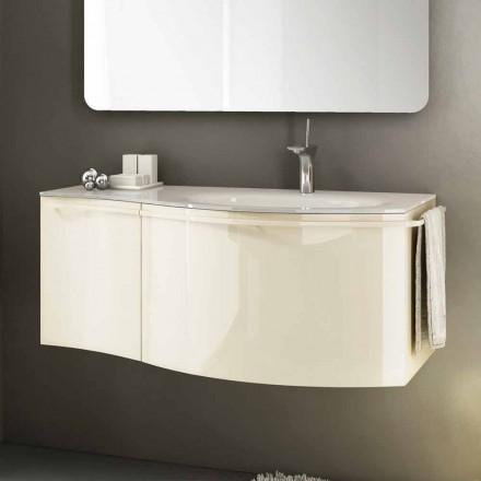 Meuble de salle de bain suspendu moderne avec lavabo en bois laqué beige Gioia 1
