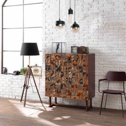 Meuble de rangement design à deux portes en bois de manguier Cellara
