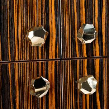 conteneur mobile moderne avec 4 portes en bois d'ébène poli Ada