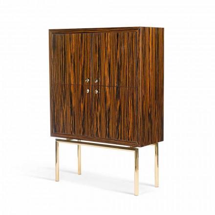 Buffet moderne avec 4 portes en bois d'ébène luisant Ada