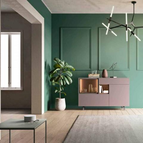 Meuble Buffet d'Entrée ou de Salon au Design Écologique en Bois et Verre - Bruno