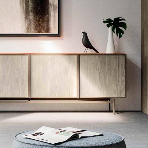 Meuble de salon ou d'entrée en bois et métal écologique 4 portes - Aaron