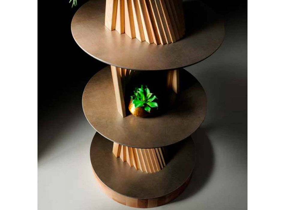 Meuble design en bois avec étagères rondes en grès Made in Italy - Aspide