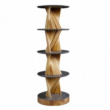 Armoire de luxe en bois avec étagères rondes en grès Made in Italy - Aspide