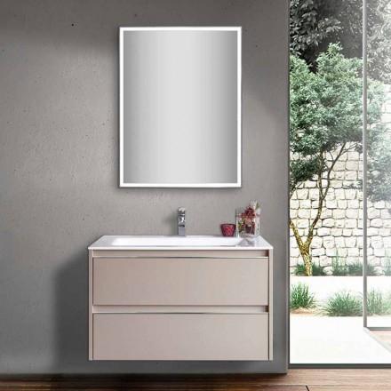Lavabo de salle de bain gris tourterelle en bois et marbre minéral avec miroir LED - Alfonso