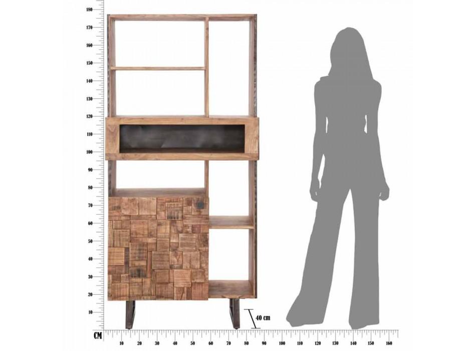 Bibliothèque mobile de design en fer et bois d'acacia - Desdemona