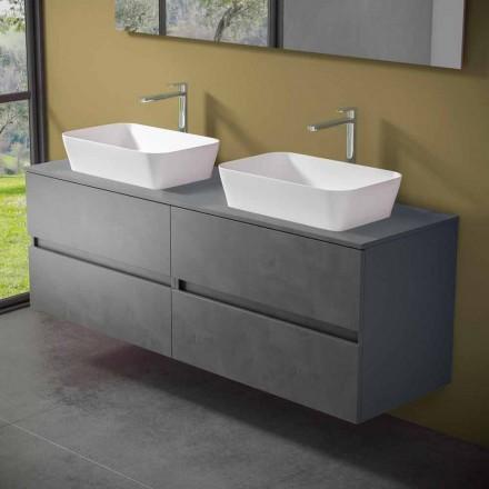 Meuble de salle de bain suspendu avec double vasque à poser - Mandrillo