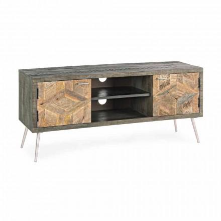 Meuble TV en bois avec poignées et pieds en acier Homemotion - Adiva