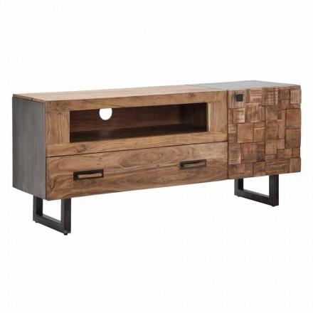 Meuble TV moderne en fer et bois d'acacia avec tiroir et porte - Deanna