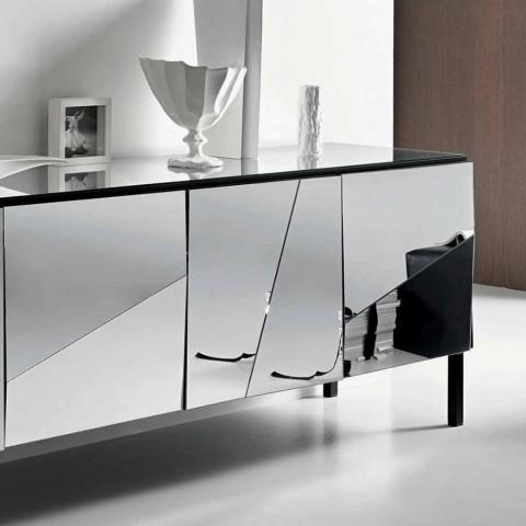 Buffet de salon en bois noir mat et plateau en verre miroir Liscio - Senese